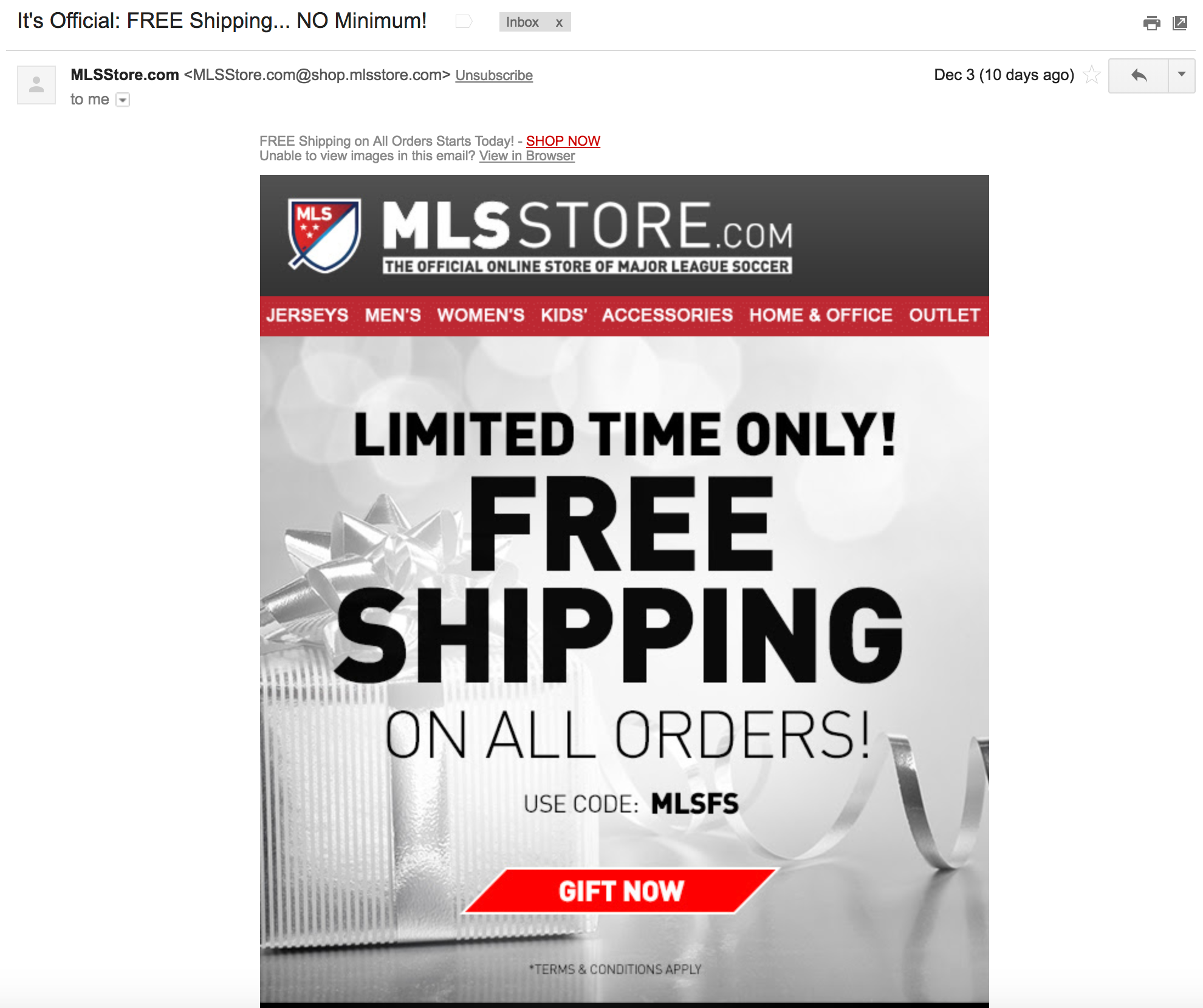 Screenshot showing an email by mlsstore.com