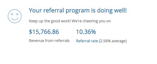Screenshot showing how a referral program is doing