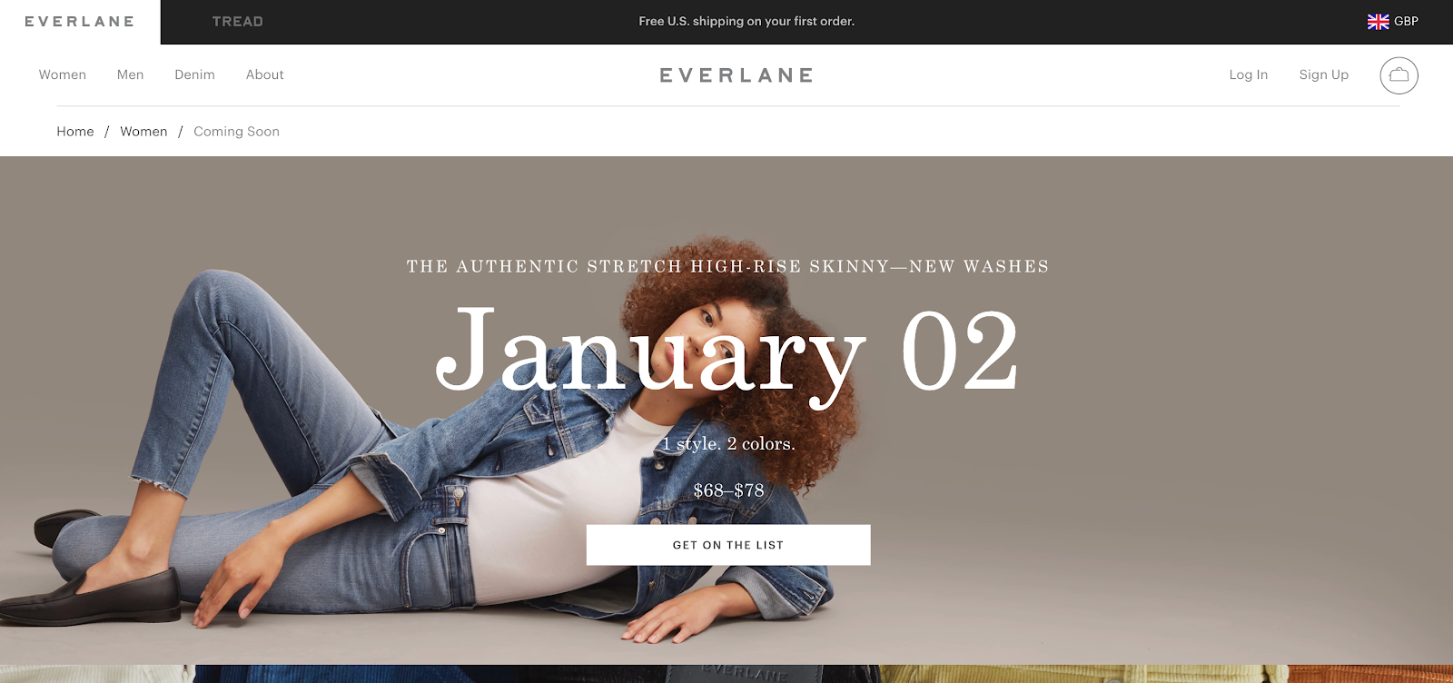 Coming Soon Page: Screenshot of Everlane coming soon page