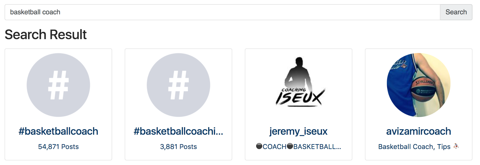 Screenshot showing search results for basketball coach
