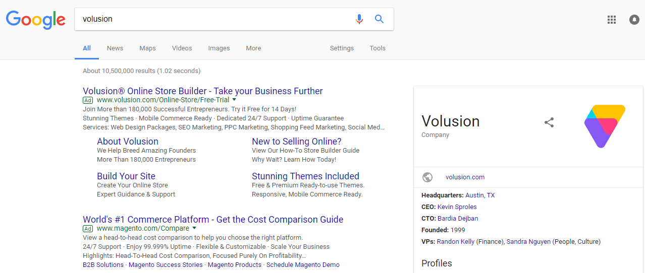 "Screenshot showing google search results for ""volusion"""