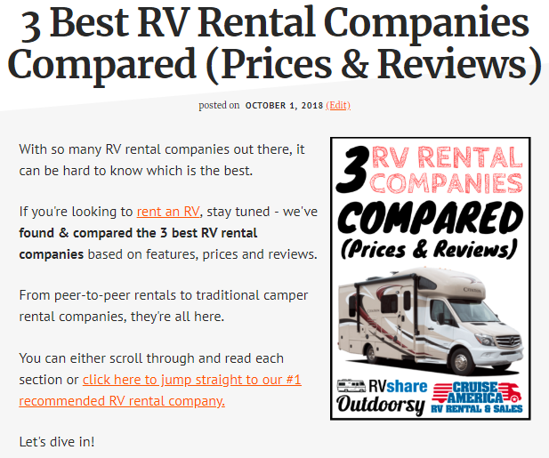 Screenshot showing content about RVs