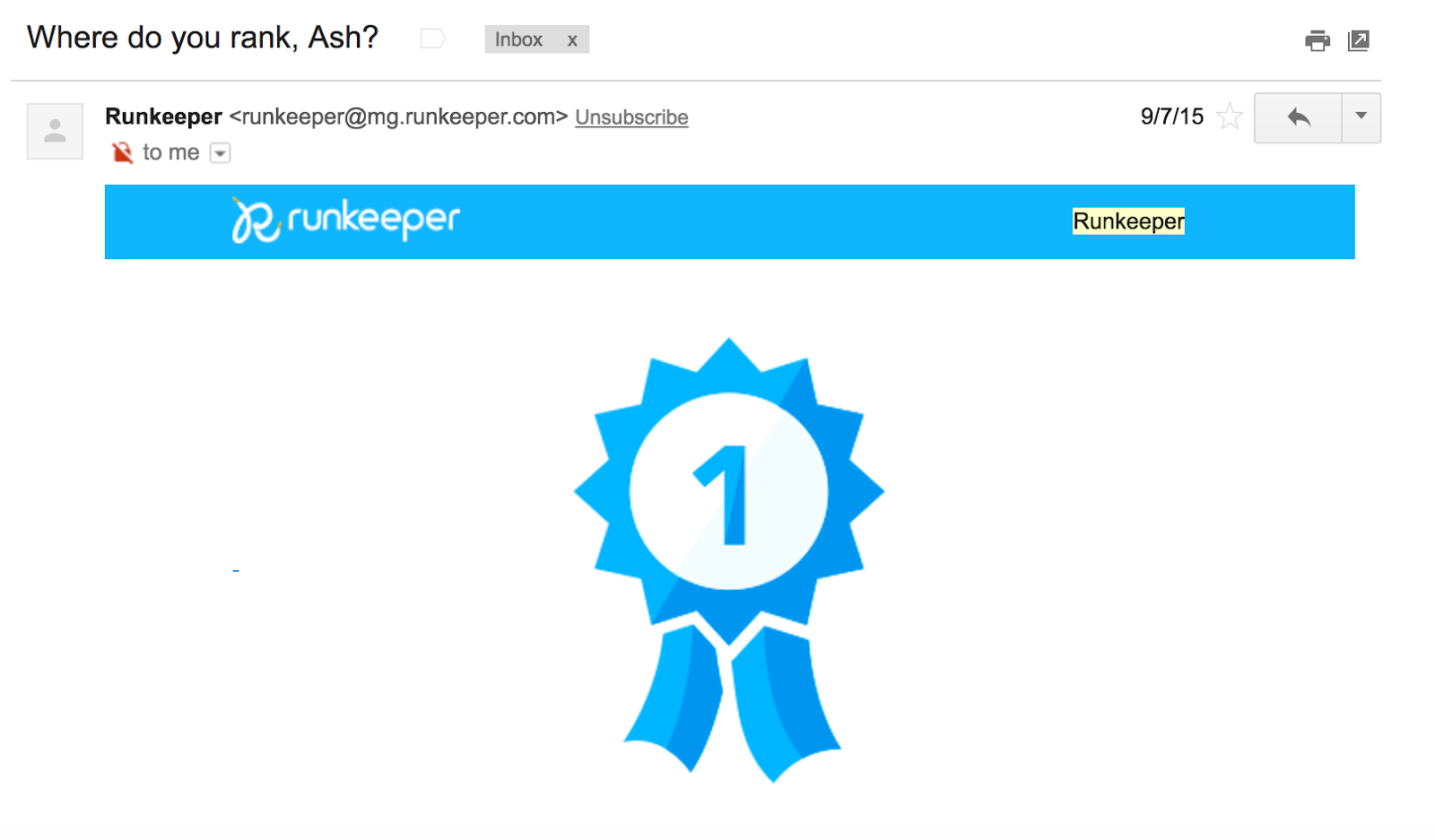 Best Email Subject Lines: Screenshot of email by Runkeeper