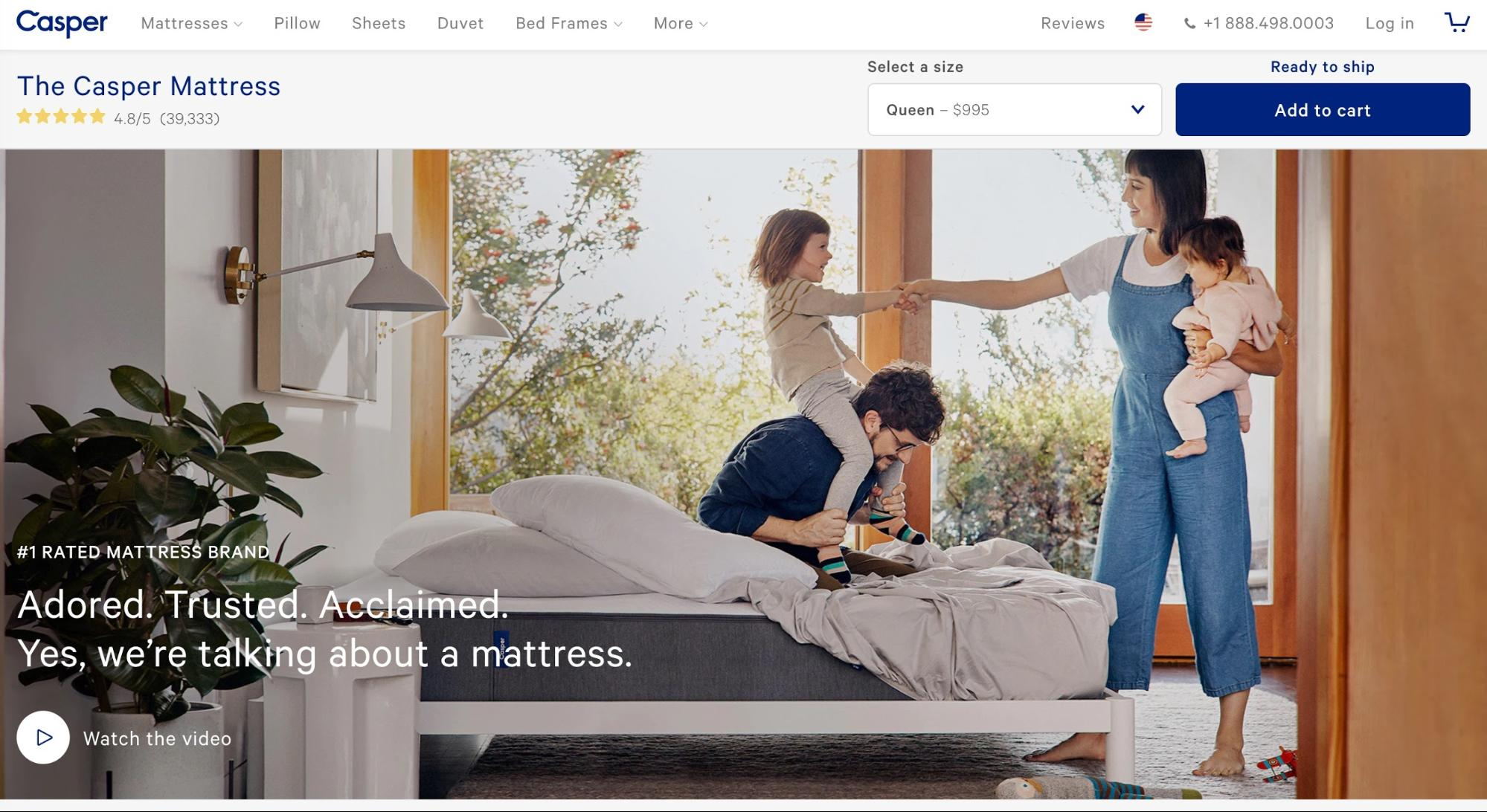 Screenshot showing casper mattress