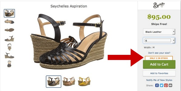 Screenshot showing scarcity marketing in action on an ecommerce site