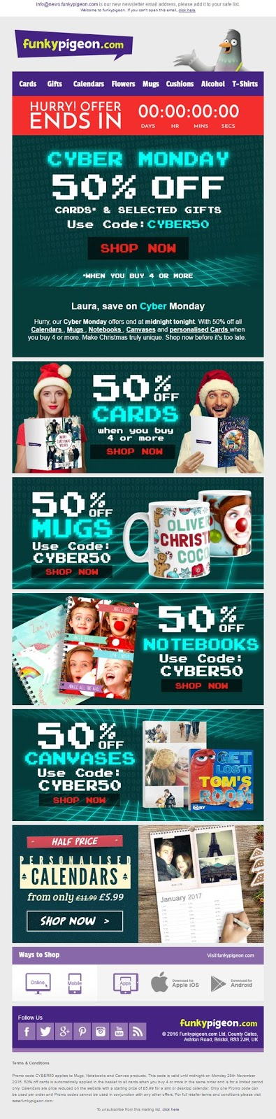 Screenshot showing multiple cyber monday banners