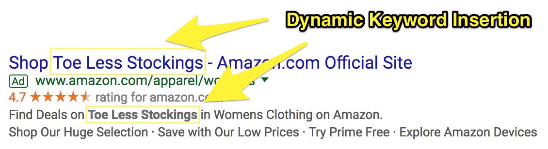 Ảnh chụp màn hình hiển thị quảng cáo google adwords cho một sản phẩm amazon