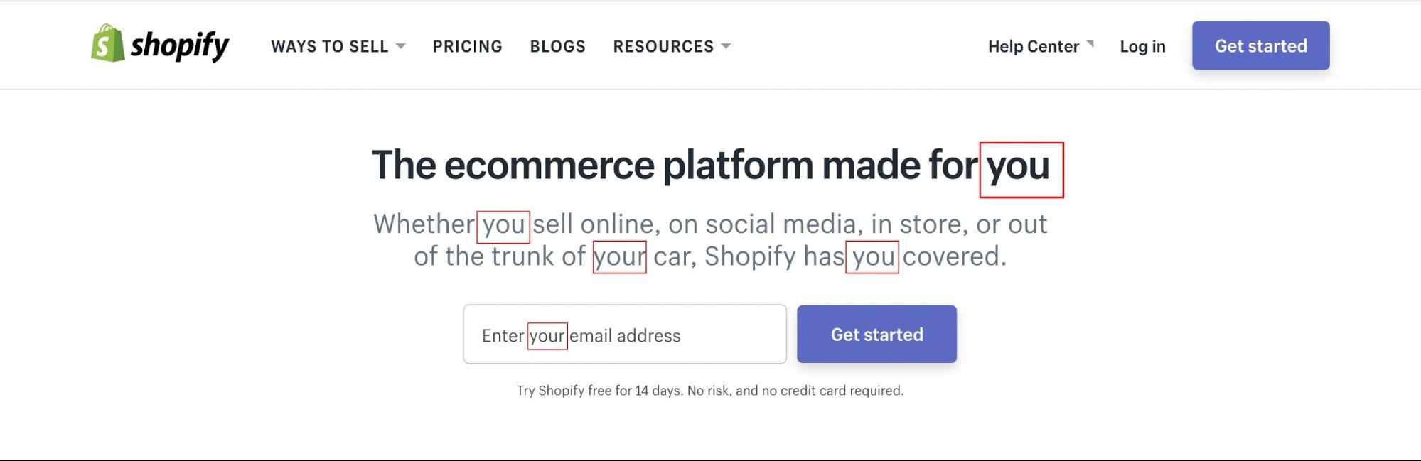 "Screenshot showing how shopify uses the word ""you"" a lot in their copy"