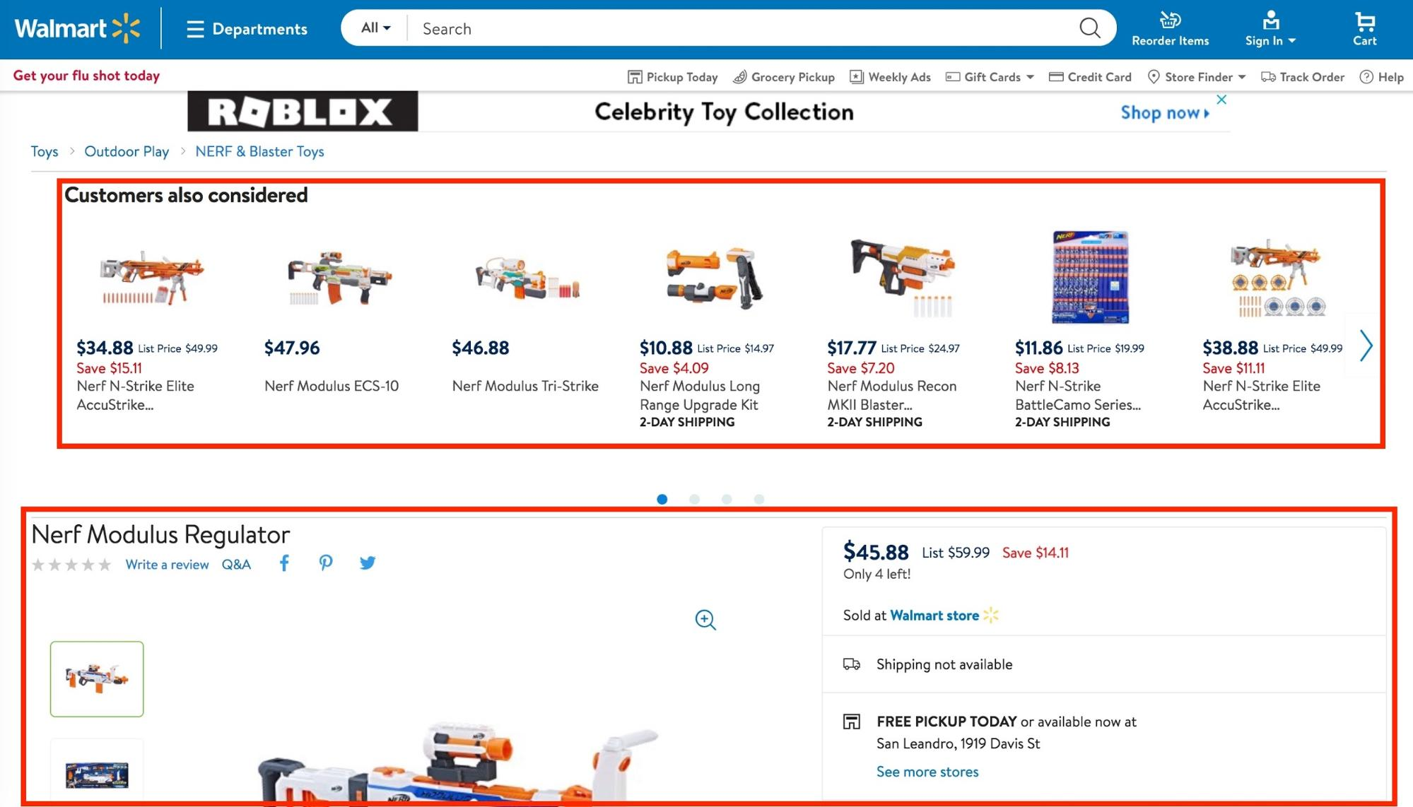 Screenshot showing walmart ecommerce product page