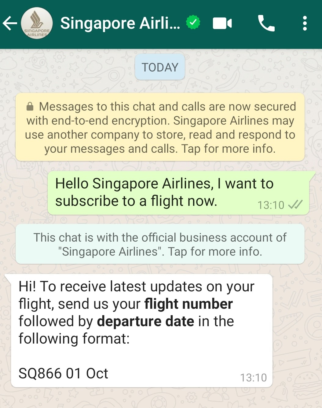 Screenshot of Whatsapp chat