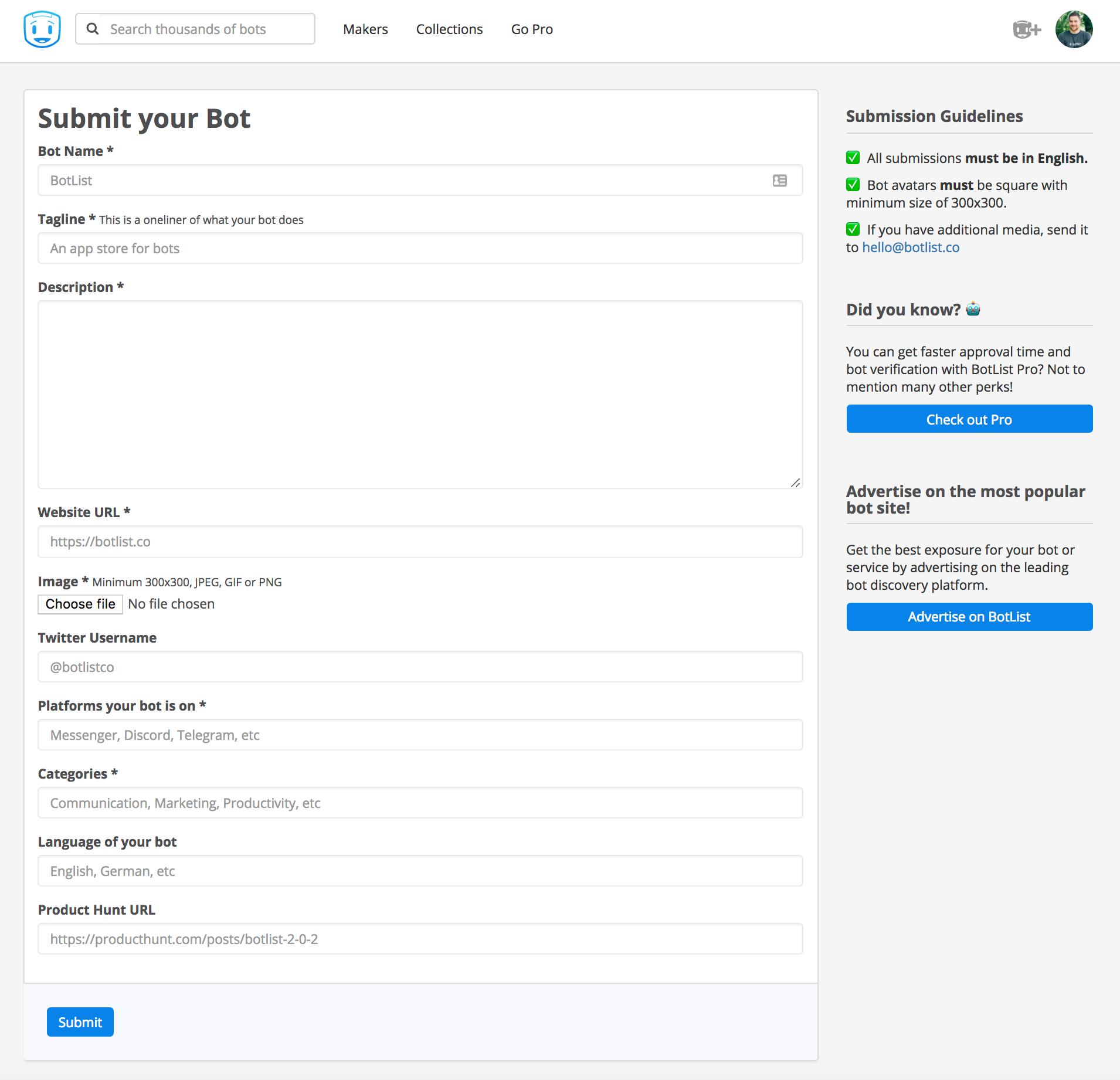 Screenshot showing bot settings page