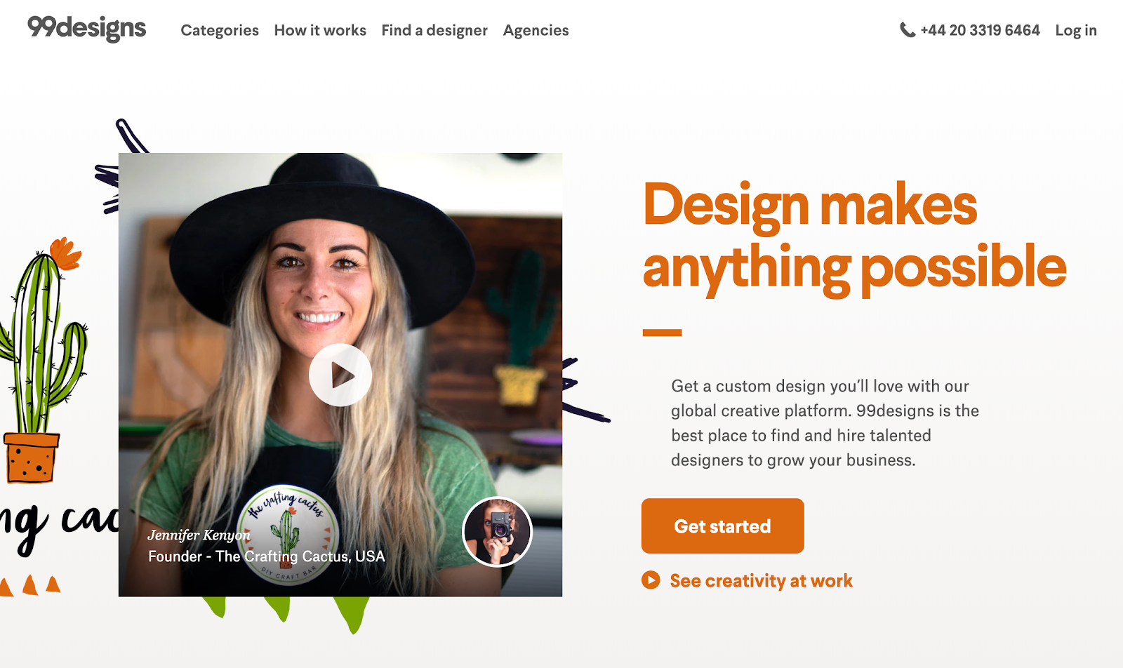 Screenshot of 99 Designs website