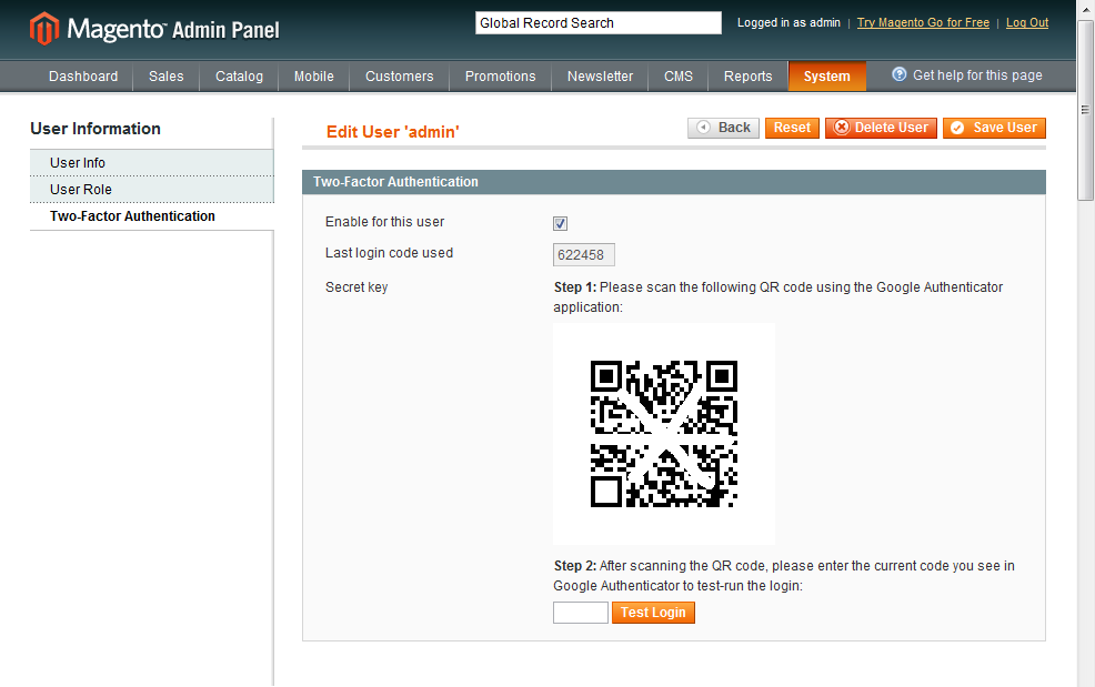 Screenshot showing the settings page for a magento plugin