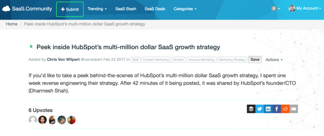 Screenshot showing the submit button on saas.community