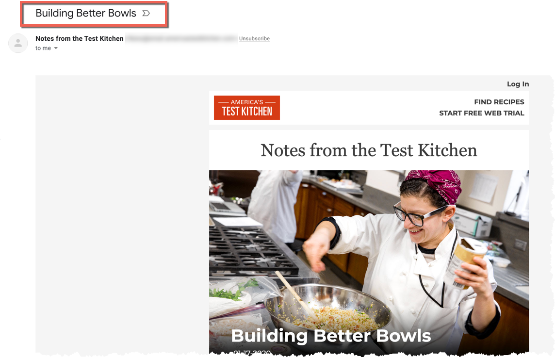 Example of a subject line from America's Test Kitchen