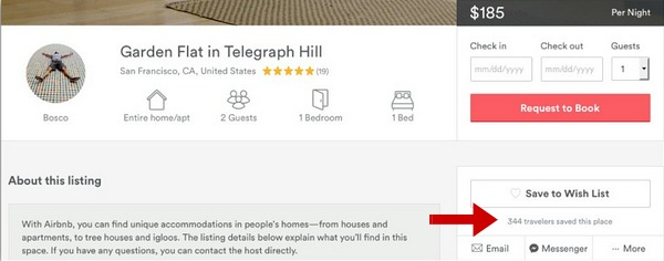 Screenshot of an airbnb location