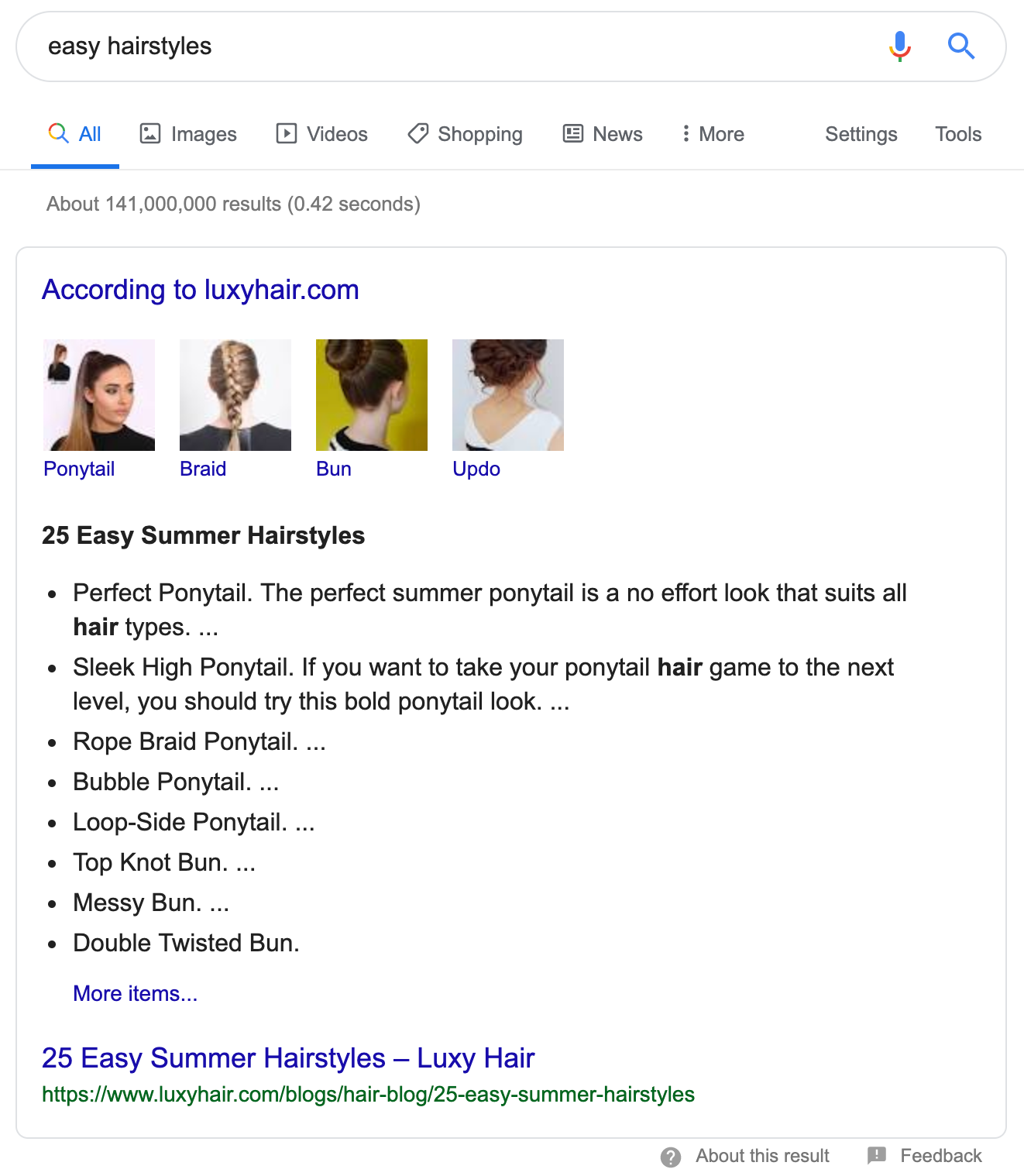 Screenshot of Luxy Hair featured snippets on Google