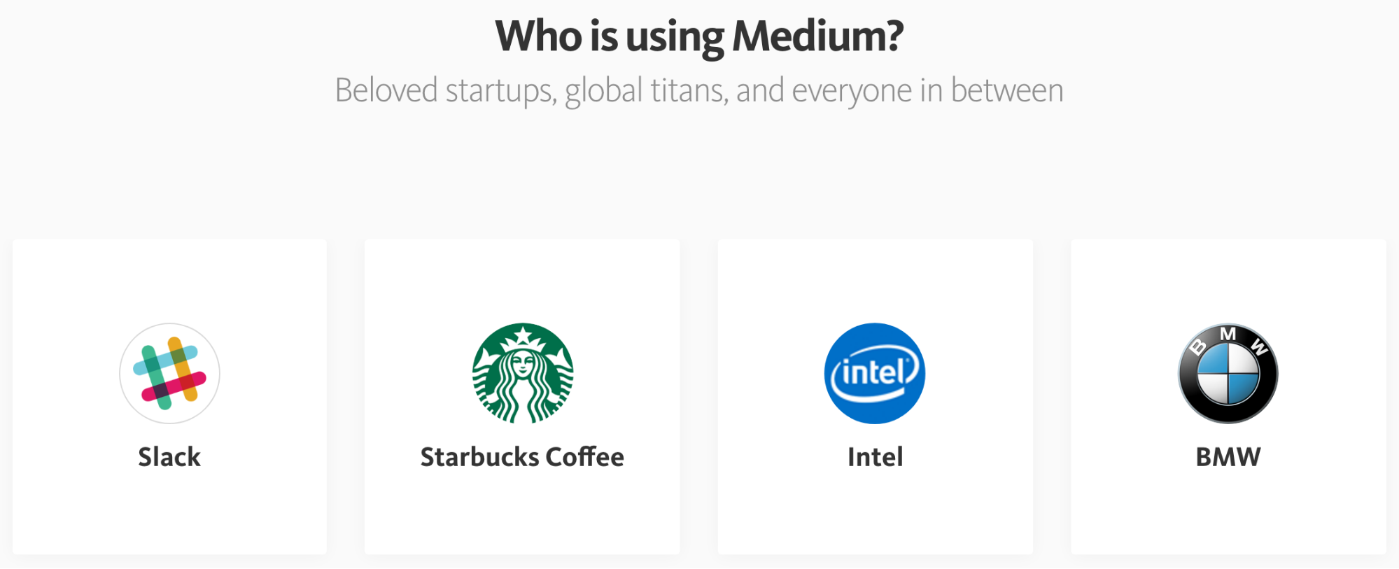 Screenshot showing Slack as one of the companies that use Medium