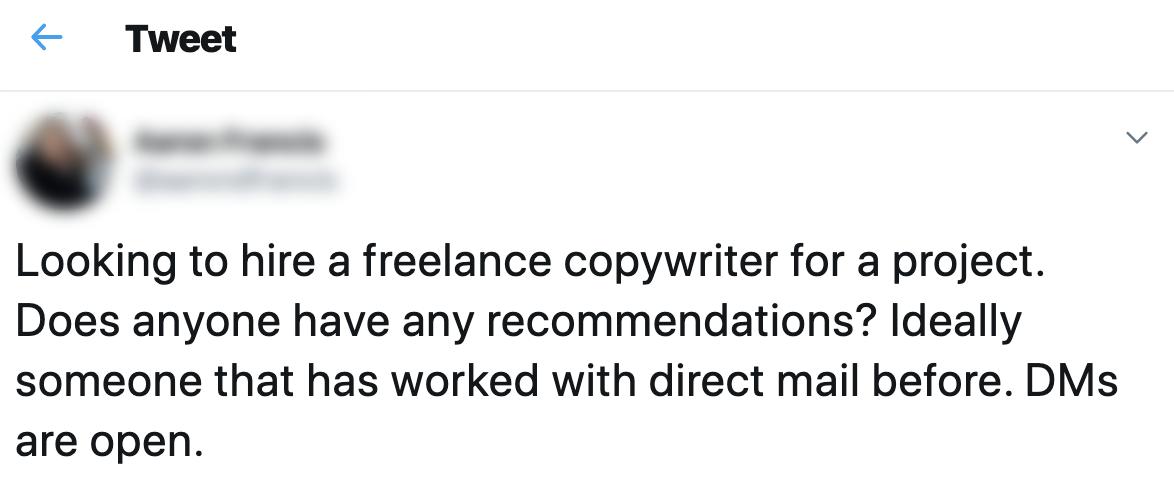 Screenshot using Tweet about looking for freelance work.
