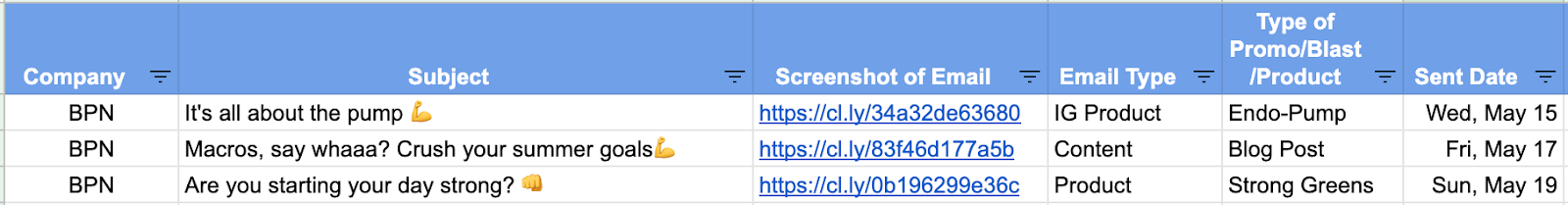Screenshot of a 3x per week emailing schedule