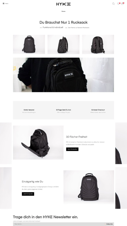 Sreenshot showing Hyke Shopify store