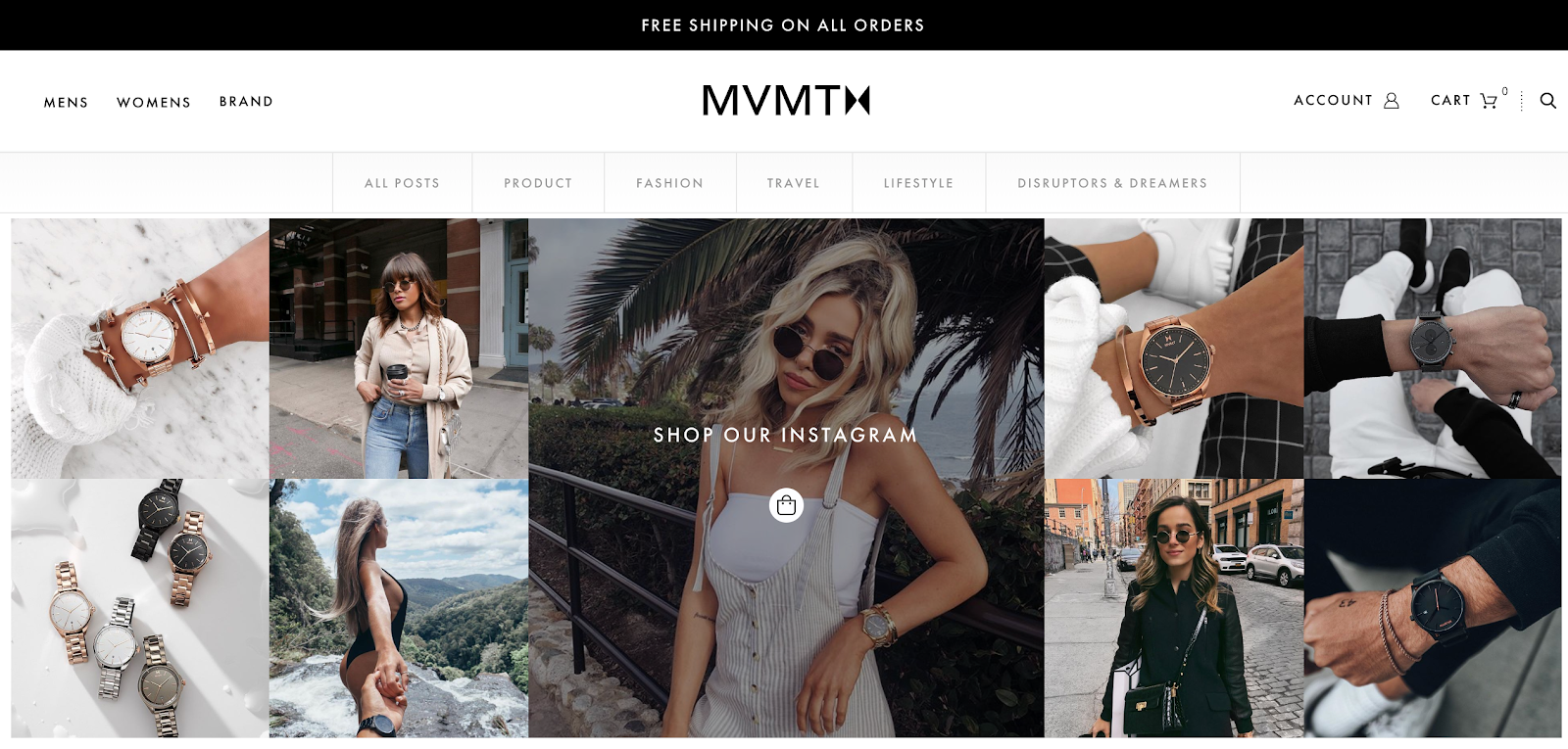 Screenshot of shoppable Instagram feed at the bottom of MVMT blog homepage