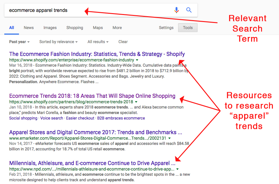 "Screenshot showing google search results for ""ecommerce apparel trends"""