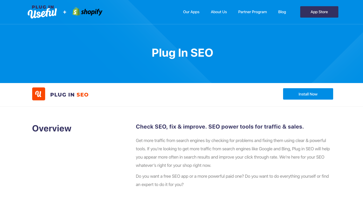 Plug in SEO shopify app