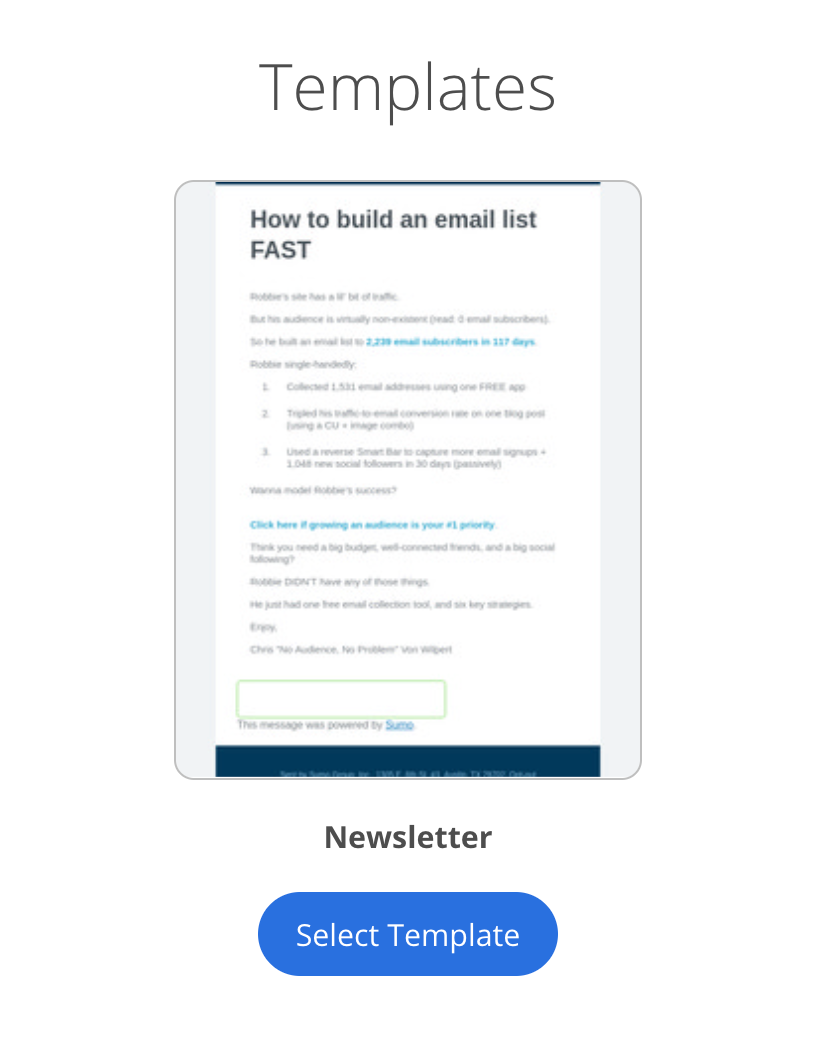 Screenshot of email saved as template on Sumo