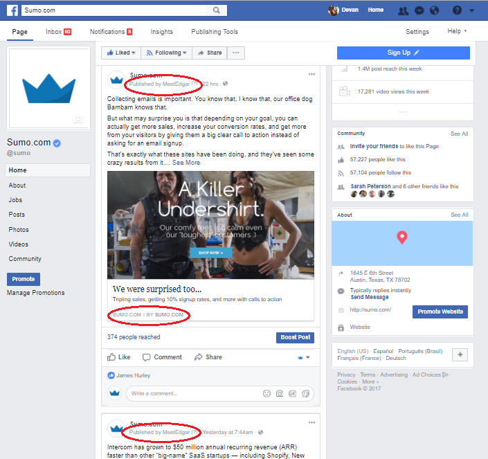 Screenshot showing how MeetEdgar publishes posts on Sumo