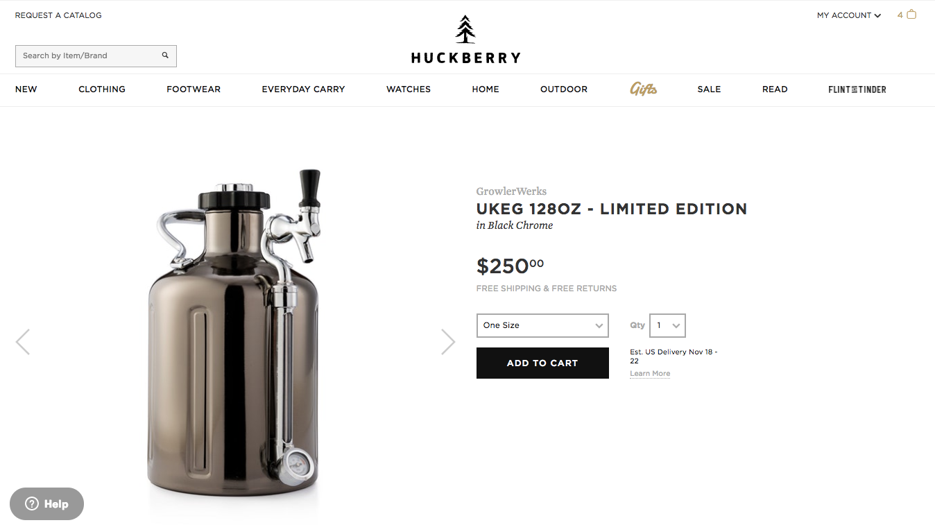 Screenshot showing a product by Huckberry