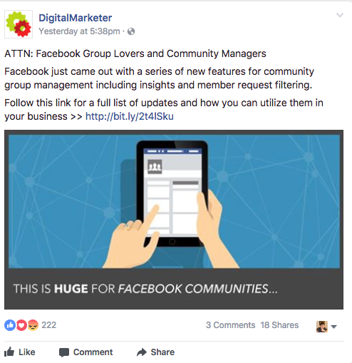 Screenshot showing a facebook ad by digitalmarketer