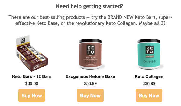 Screenshot of welcome email by Perfect Keto featuring their bestselling products
