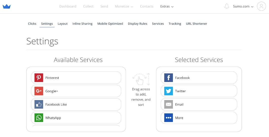 Screenshot showing Sumo share buttons settings