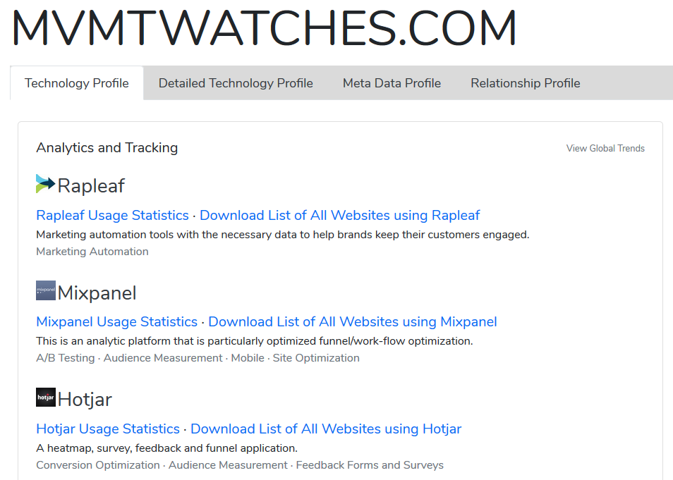 Screenshot showing what apps are used on MVMT watches