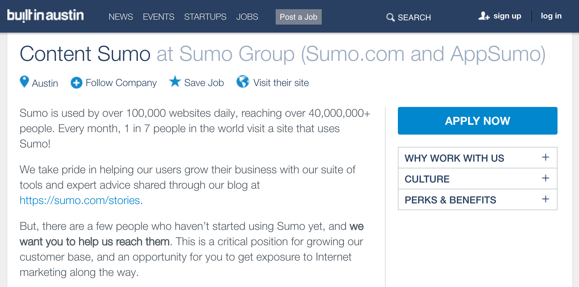 Screenshot showing a job opening on Sumo.com
