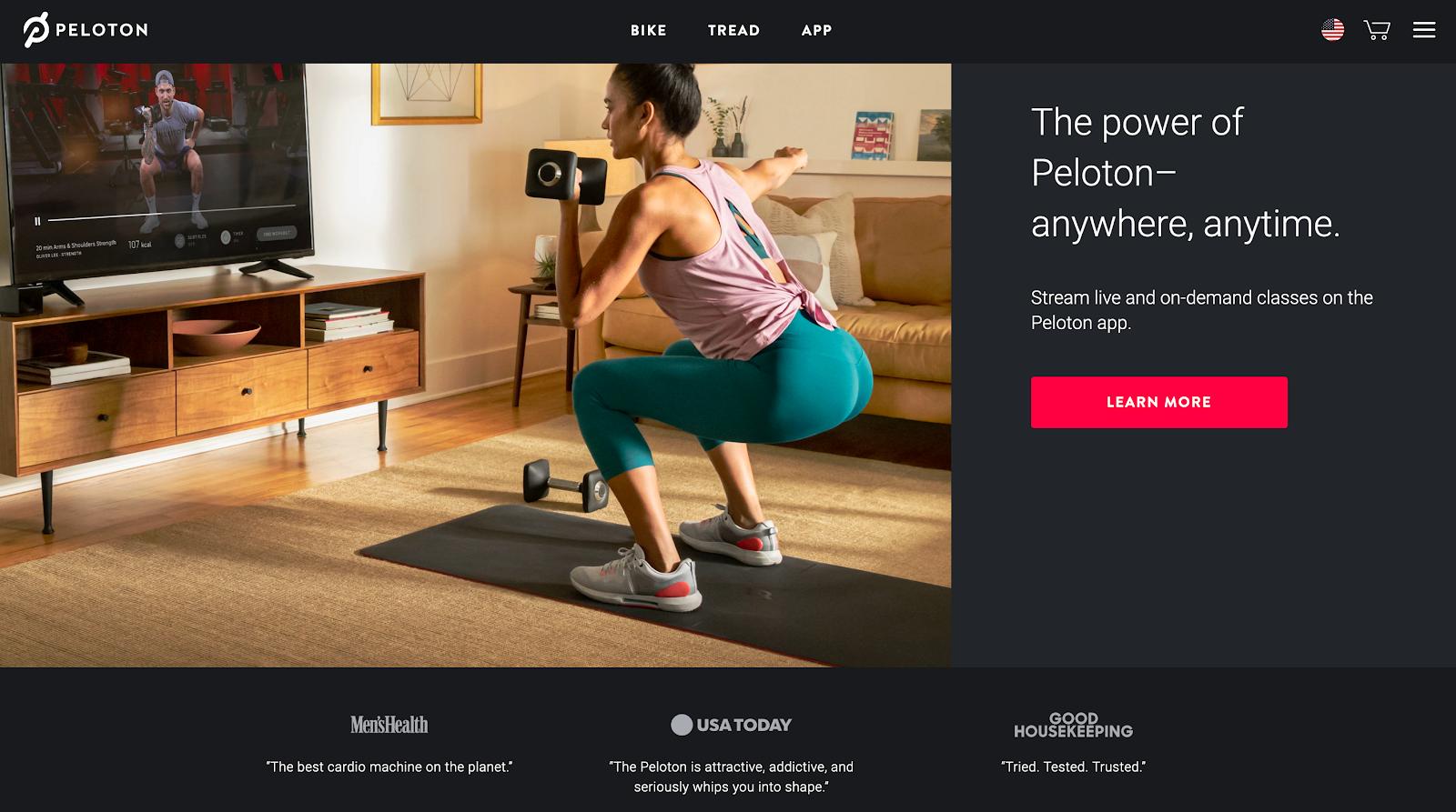 Screenshot of Peloton's website