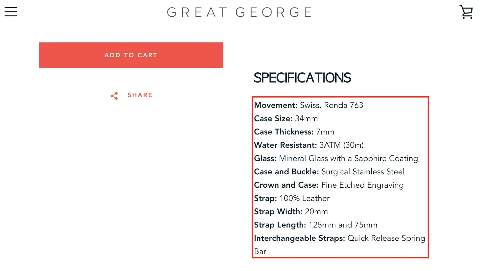 Screenshot showing product specifications