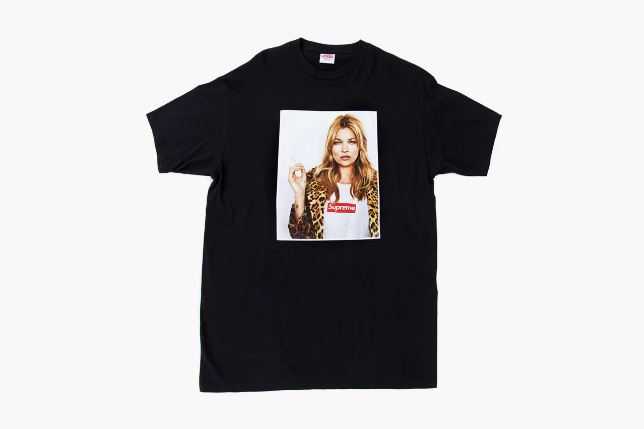 Screenshot of a Supreme tshirt with a lady wearing a Supreme tshirt on it