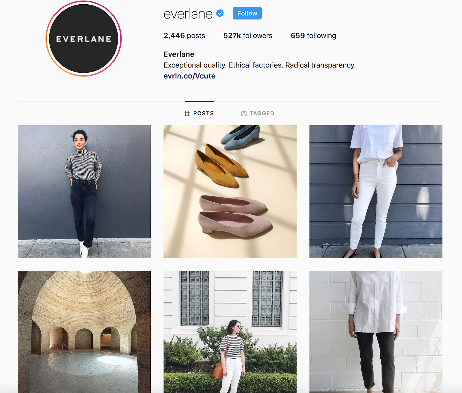 Screenshot showing Everlane