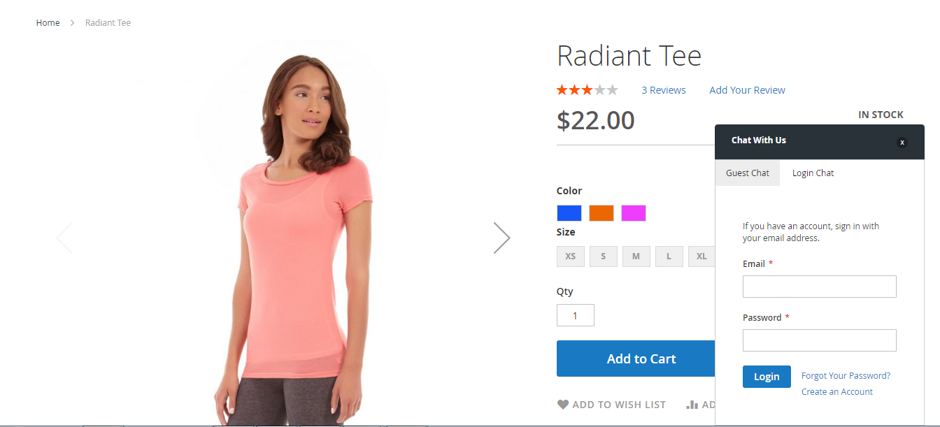 Screenshot showing the product page for a tee