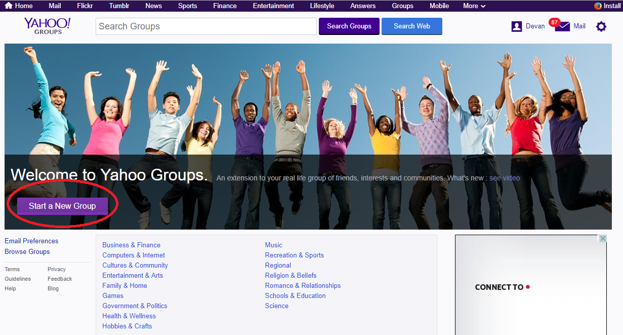Screenshot showing the Yahoo Groups home page