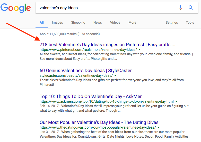 "Screenshot showing google search results for ""valentine"
