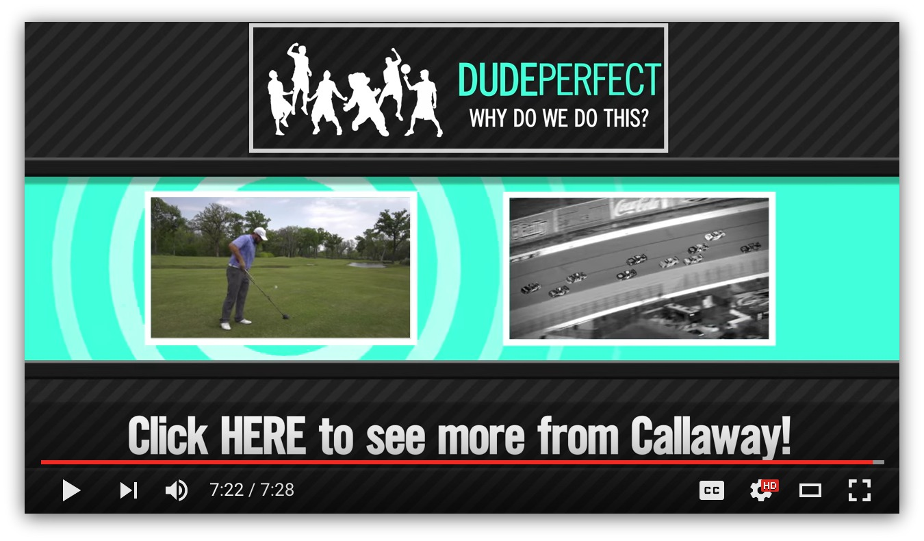 Screenshot showing a CTA at the end of a DudePerfect video