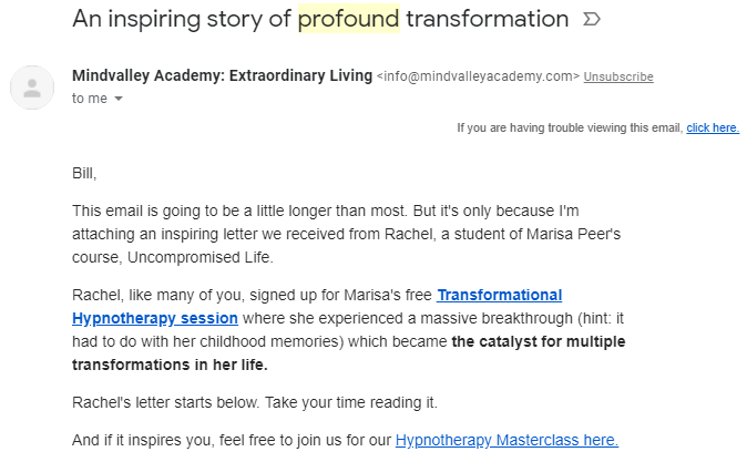 Screenshot of email from Mindvalley Academy
