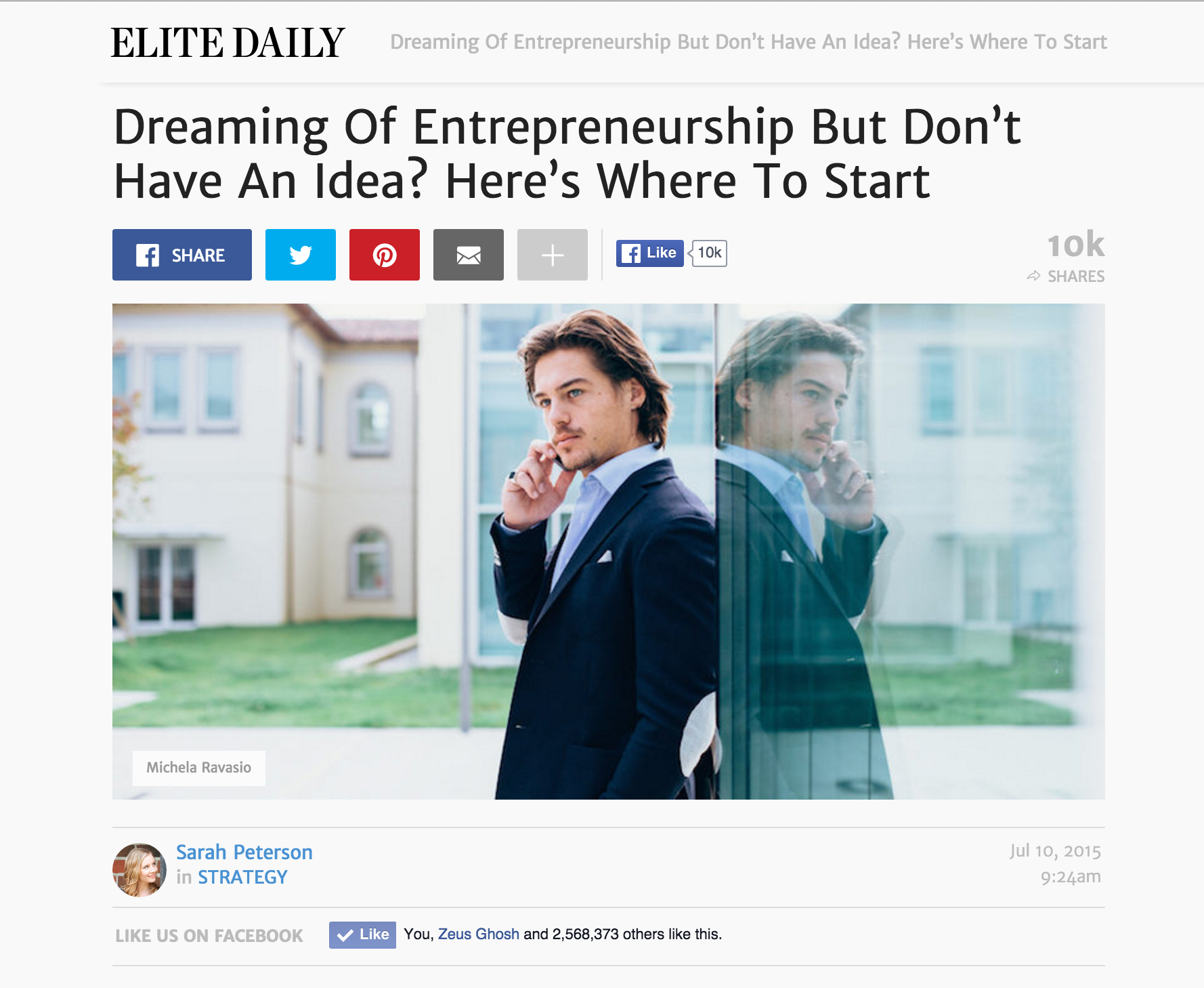 Screenshot of a content piece on Elite Daily