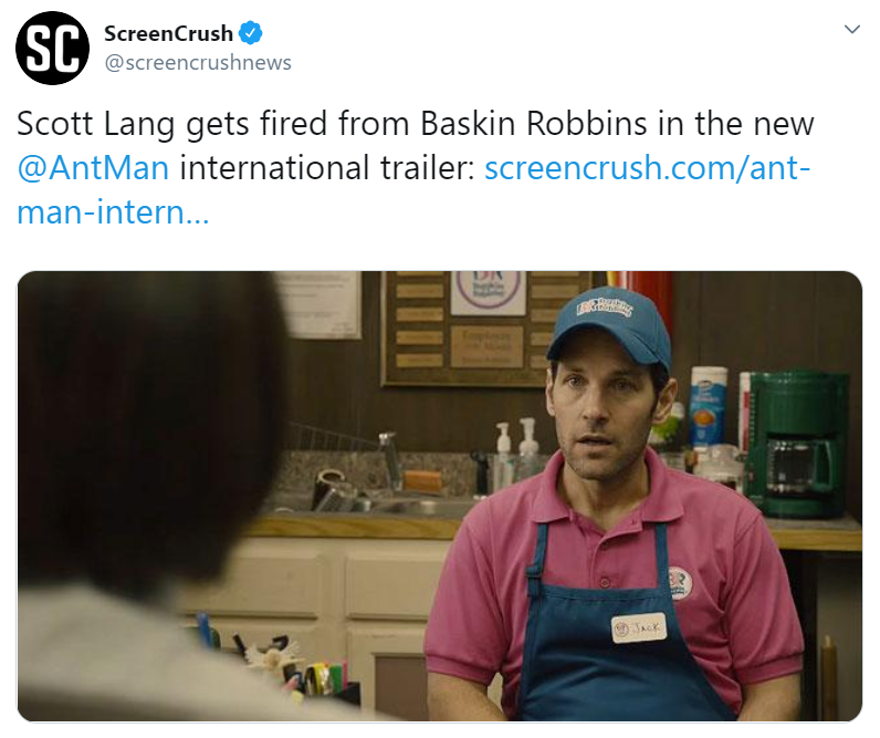 Screenshot of tweet post from Screencrush