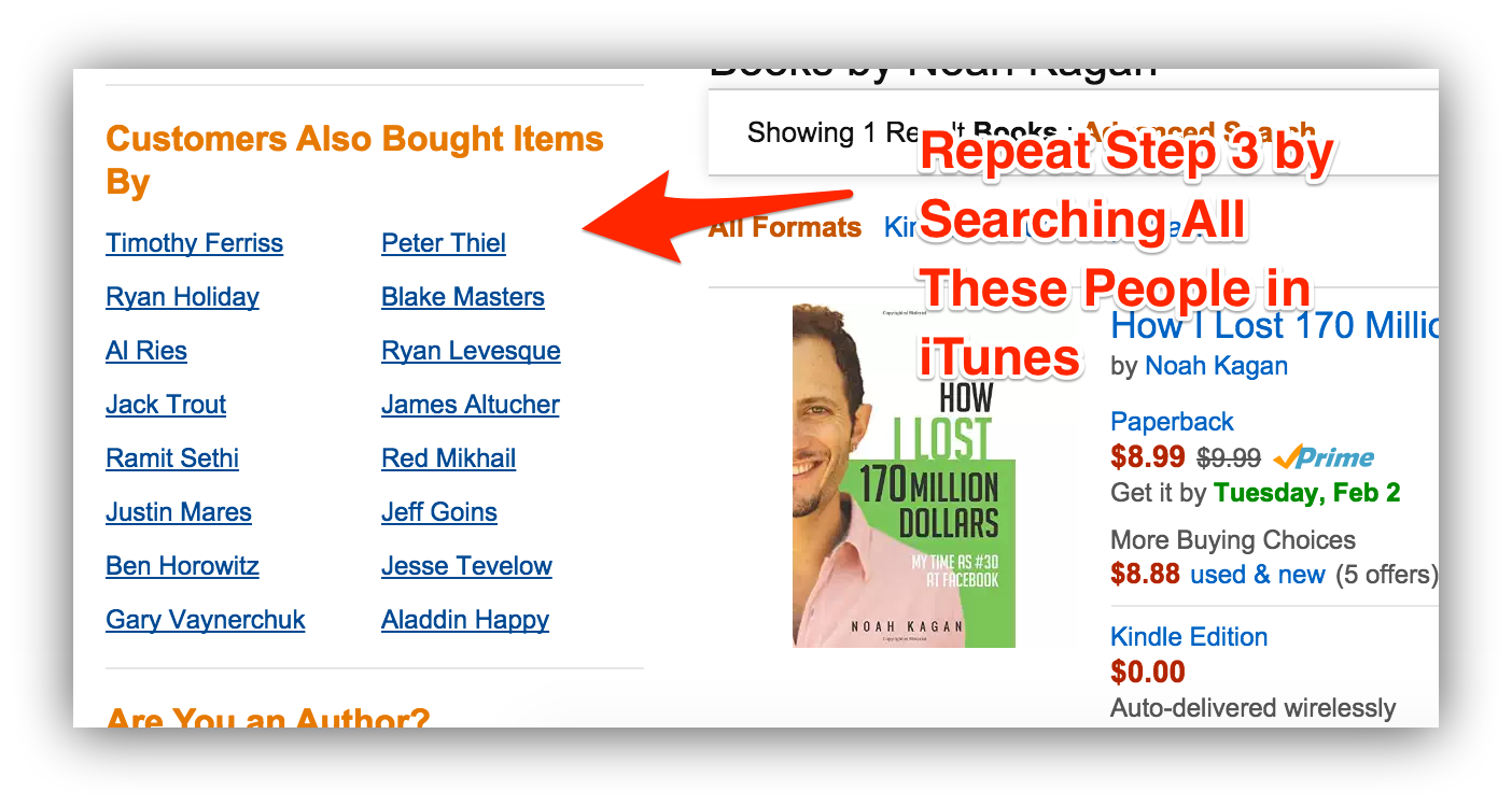 Screenshot of recommended authors on noah kagan
