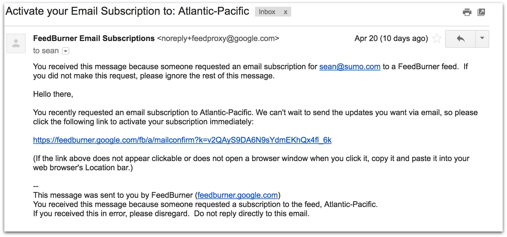 Screenshot showing a double opt-in email sent by Atlantic-Pacific