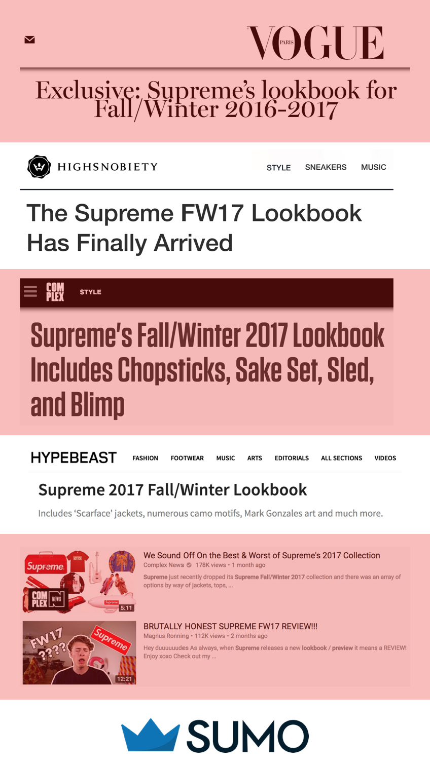Screenshot showing news outlets covering the new Supreme lookbook